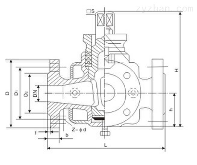 BX44W-10C/P法兰式三通保温旋塞阀外形结构尺寸图