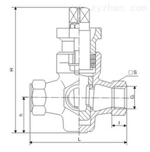 X14T-1.0内螺纹三通铜芯旋塞阀主要外形连接尺寸图