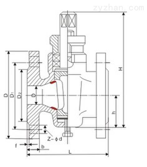 X43T-1.0二通铜芯铸铁旋塞阀主要连接尺寸图
