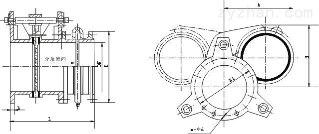 F643X气动扇形眼镜阀外形结构尺寸图