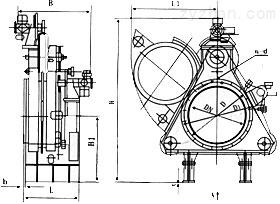 F943X电动扇形眼镜阀外形结构尺寸图
