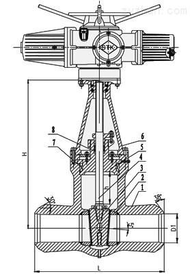 Z962Y-250 Z962Y-320高温高压电站双闸板电动闸阀主要外形尺寸和选接尺寸图