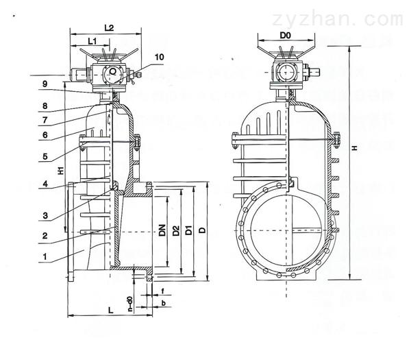 Z945X-10型铸铁暗杆软密封电动闸阀外形尺寸图