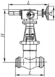 Z961Y-P54100V、Z961Y-P54140V、Z961Y-P54170V型高温高压电动电站焊接闸阀外形尺寸图
