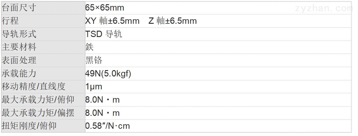 XYZ轴TSD平台(垂直) 65mm